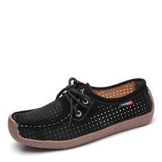 Femmes Suède Talon plat Chaussures plates Bout fermé avec Dentelle Ouvertes chaussures