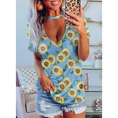 Sunflower Print V-Neck Short Sleeves Casual Blouses