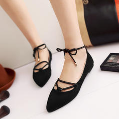 Women's Suede Flat Heel Flats Platform With Lace-up shoes