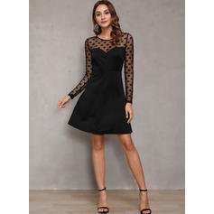 Solid/PolkaDot Long Sleeves A-line Above Knee Little Black/Sexy/Party Dresses
