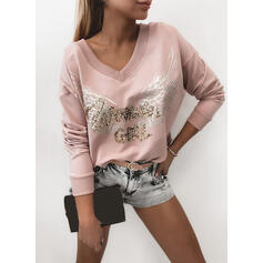 Print Sequins Figure V-Neck Long Sleeves Casual T-shirts