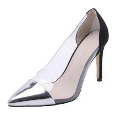 Kvinder Patenteret Læder Gummi Stiletto Hæl Pumps sko