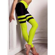 Round Neck Sleeveless Color Block Stripe Sporty Sets Yoga Sets