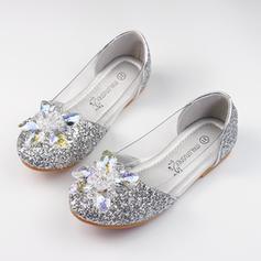 A menina de Glitter espumante Heel plana Fechados Sem salto Sapatas do florista com Strass Espumante Glitter