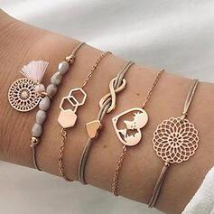 Infinity Heart Alloy With Tassels Bracelets (Set of 5)