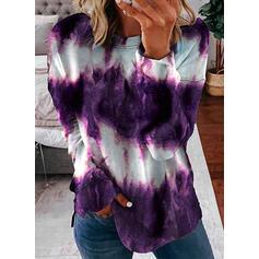 Tie dye kleurstof Ronde nek Lange Mouwen Sweatshirts