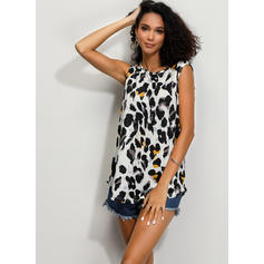 Animal Print Round Neck Sleeveless Casual Blouses