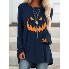 Print Halloween Round Neck Long Sleeves Sweatshirt