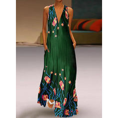 Print/Floral Sleeveless Shift Party Maxi Dresses