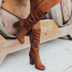 Femmes Suède Talon bottier Bottes avec Plissé Zip Couleur unie chaussures