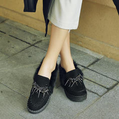 Dla kobiet Zamsz Płaski Obcas Plaskie Zakryte Palce Z Frędzle obuwie