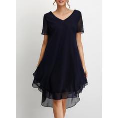 Jednolita Krótkie rękawy Koktajlowa Asymetryczna Casual Sukienki