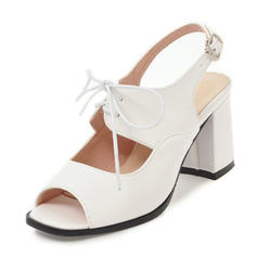 Women's Leatherette Chunky Heel Sandals Pumps Peep Toe Slingbacks With Buckle Lace-up shoes