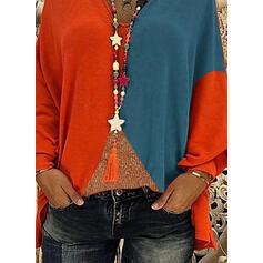 Color block V-hals Lange ærmer Casual Skjorter
