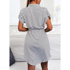Striped Short Sleeves Sheath Knee Length Casual Shirt Dresses