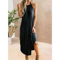 Solid Kolsuz Shift Elbiseleri Negre/gündelik Midi Elbiseler