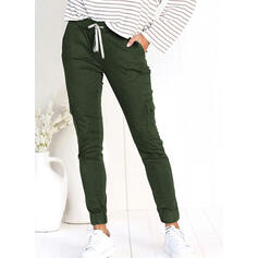 Solid Pockets Shirred Long Casual Sporty Pants