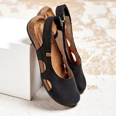 Women's PU Flat Heel Flats With Velcro shoes