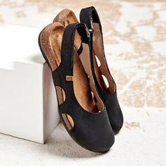 Femmes PU Talon plat Chaussures plates avec Velcro chaussures