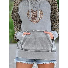 leopardo Cuore tasche Maniche lunghe con cappuccio