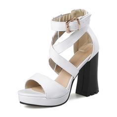 Femmes Similicuir Talon bottier Sandales Plateforme avec Boucle chaussures