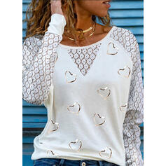 Print Lace Heart Round Neck Long Sleeves Casual Blouses