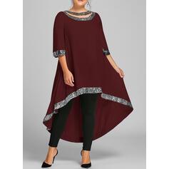Sequins 3/4 Sleeves Shift Asymmetrical Casual/Elegant/Plus Size Dresses