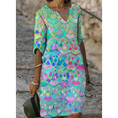 Print 1/2 Sleeves Shift Knee Length Casual Tunic Dresses