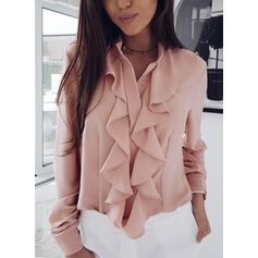 Solido Alzarsi il colletto Maniche lunghe Casuale Elegante Camicie