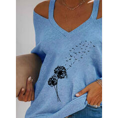 Print Dandelion Cold Shoulder Long Sleeves Casual Blouses