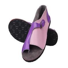De mujer PU Tacón plano Sandalias Planos Encaje con Material Block zapatos