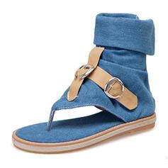 Femmes Treillis Talon plat Sandales Chaussures plates À bout ouvert avec Boucle chaussures