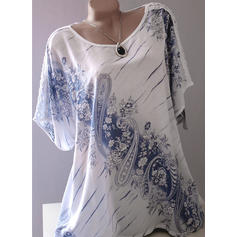 Floral Round Neck Short Sleeves Casual Elegant Blouses