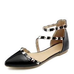 Donna Pelle verniciata Senza tacco Sandalo Ballerine Punta chiusa con Rivet Fibbia scarpe