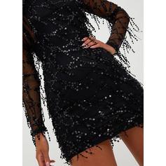 Cekiny Długie rękawy Bodycon Nad kolana Mała czarna/Przyjęcie/Elegancki Sukienki