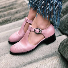 Women's PU Chunky Heel Flats Round Toe With Buckle Hollow-out shoes