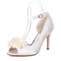 Women's Silk Like Satin Stiletto Heel Pumps With Satin Flower