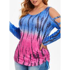 Print Tie Dye Kolde skulder Lange ærmer Casual Plus størrelse Skjorter