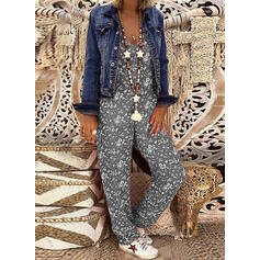Floral Print V-Neck Sleeveless Casual Jumpsuit
