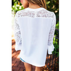 Lace Round Neck 3/4 Sleeves Casual Blouses