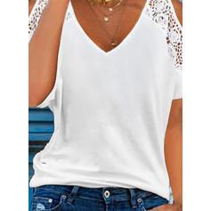 Jednolity Koronka Zimne ramię Krótkie rękawy Elegancki Bluzki