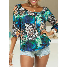luipaard Off the Shoulder Lange Mouwen Casual Blouses