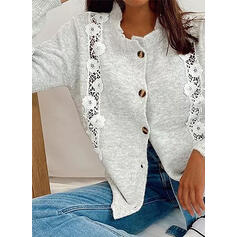 Solido Pizzo Girocollo Casual Cardigan