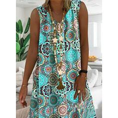 Print Sleeveless Shift Knee Length Casual/Vacation Tank Dresses