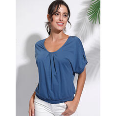Lace V-Neck 1/2 Sleeves Casual Knit T-shirts