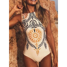 Print Vintage Boho One-piece Swimsuits