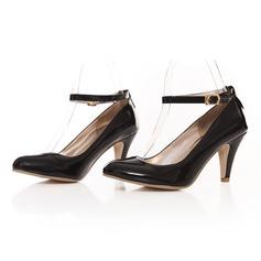 Femmes Cuir verni Talon cône Escarpins Bout fermé avec Boucle chaussures