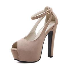 Donna Camoscio Tacco a spillo Sandalo Stiletto Piattaforma Punta aperta con Fibbia scarpe