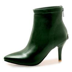 Femmes Similicuir Talon stiletto Escarpins Bottes Bottes mi-mollets avec Zip chaussures