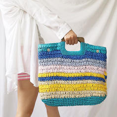 Splice Color Straw Clutches/Beach Bags